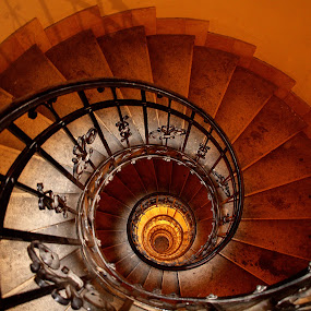 Spiral Staircase II by Ludwig Wagner - Buildings & Architecture Other Interior ( curve, shell, circular, staircase, rail, spiral, tunnel )