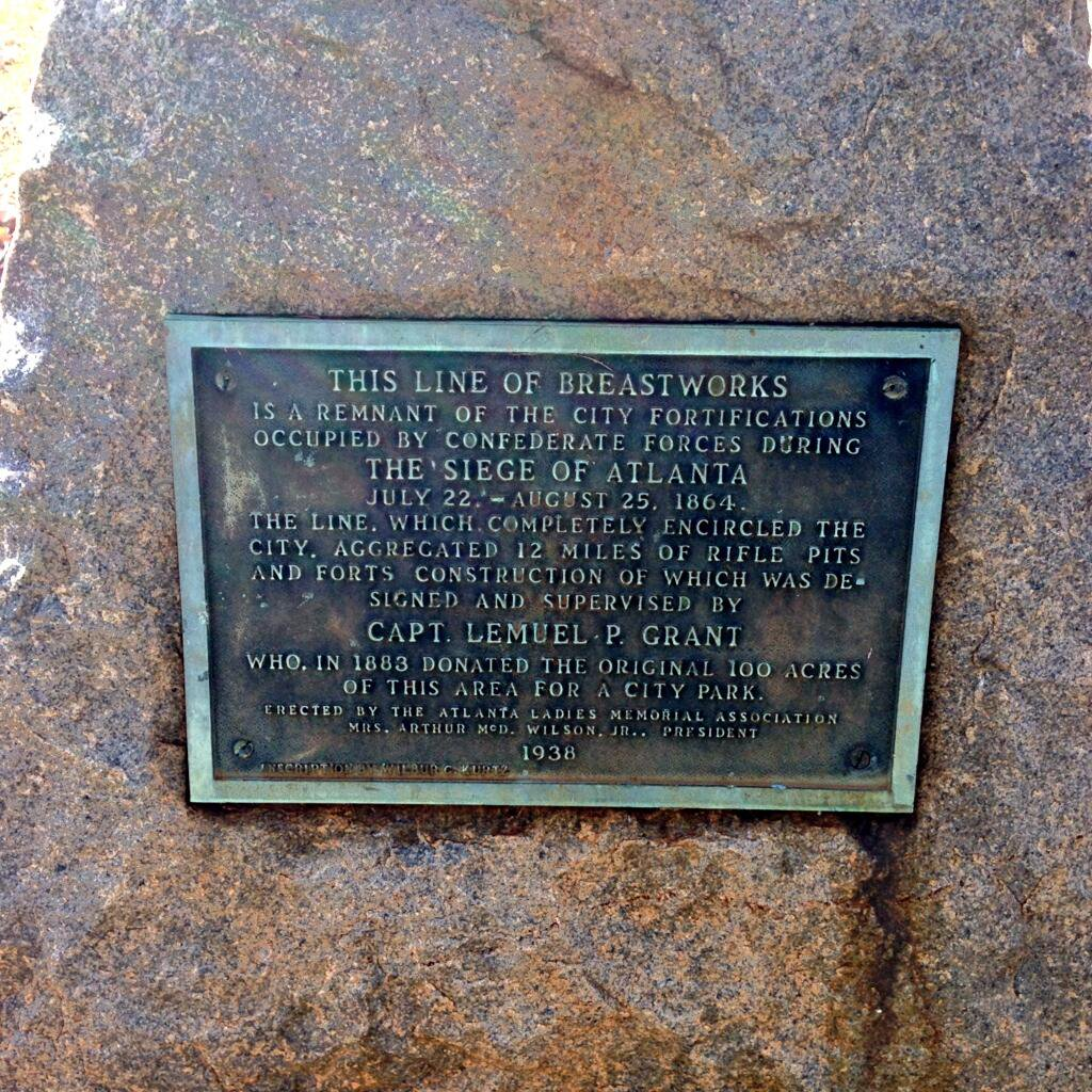 THIS LINE OF BREASTWORKSIS A REMNANT OF THE CITY FORTIFICATIONSOCCUPIED BY CONFEDERATE FORCES DURINGTHE SIEGE OF ATLANTAJULY 22 - AUGUST 1864THE LINE, WHICH COMPLETELY ENCIRCLED THECITY, ...