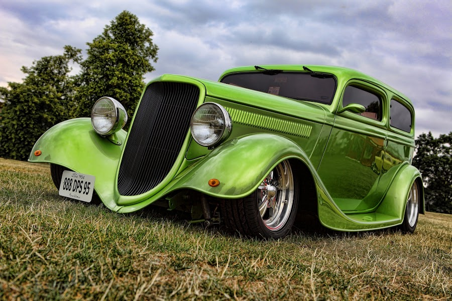 Gorgeous Green by Peter Parker - Transportation Automobiles ( car, rod, 1934, coupe, green, street, ford, low, custom )