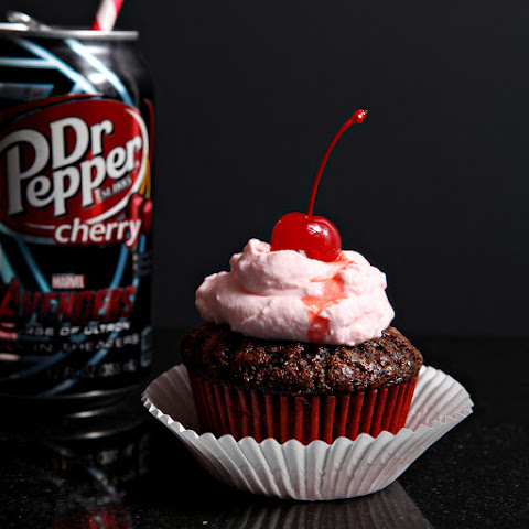 Dr Pepper® Cherry Cupcakes with Grenadine Whipped Cream