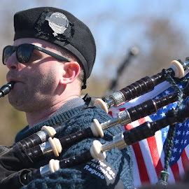 Bag Pipe Musician  by Lorraine D.  Heaney - People Musicians & Entertainers