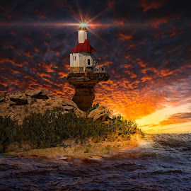 Camel Rock Lighthouse by Ron Meyers - Digital Art Places