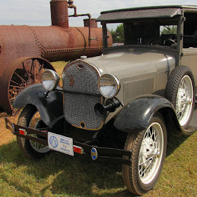Old & New by Diane Butler - Transportation Other ( car, new, old, flywheelers, tractor )
