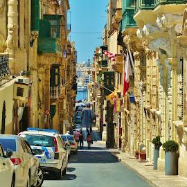 TO THE PORT by Wojtylak Maria - City,  Street & Park  Street Scenes ( narrow, malta, cars, street, architecture, down, capital )