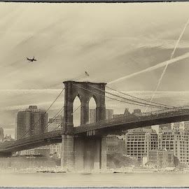Brooklyn IllusionB by Maggie Magee Molino - Buildings & Architecture Bridges & Suspended Structures ( sepia, sky, vintage, bridge, brooklyn )