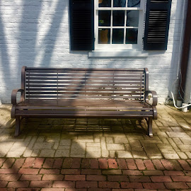 Bench in the Shade by Debbie Squier-Bernst - City,  Street & Park  Historic Districts