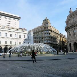 water fountain by Marija Čaušić - City,  Street & Park  Fountains ( water, building, gondola, fountain, street )