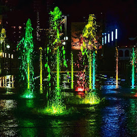 Cincinnati Riverfront by Robin Stover - City,  Street & Park  Fountains