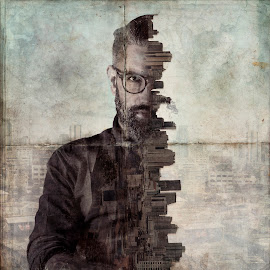 by Bendik Møller - Digital Art People ( potrait, photoshop art, model, skyline, glasses, texture, male, art, digital, city, digital art, beard, man, photoshop )