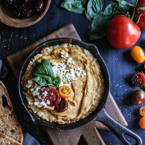 Four Cheese Greek Pizza Dip with Tuscan Herb Hummus