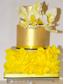 Yellow and Gold Birthday Cake