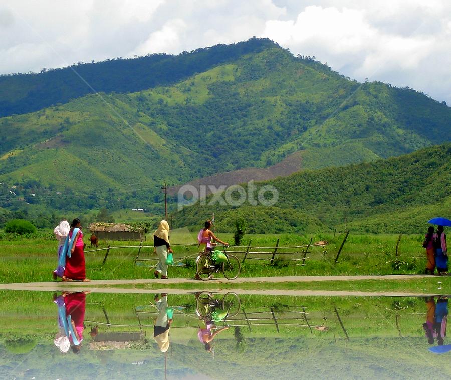 Women returning from the local bazaar by PINAKI MITRA - City,  Street & Park  Street Scenes