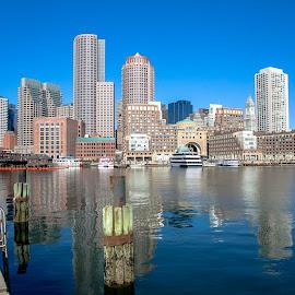 Boston Harbor View by Cary Chu - City,  Street & Park  Skylines