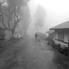 Misty Walk... by Kunal Bhattacharya - Landscapes Weather ( dawn, street, weather, morning, people, misty )