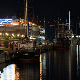 Varna at night by Sergey Sokolov - City,  Street & Park  Night ( waves, viaduct, seal, pool, ship, water, marine, sea, flood, aqua, yacht, ocean, naval, varna, vessel, nightscape, bridge, resort, night photography )