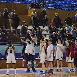 Players celebrating a victory in a basketball match by Valentin Todea - Sports & Fitness Basketball ( victory, basketball, u cluj, oradea, sport, romania )