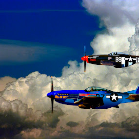 P-51 WW II FIGHTERS HIGH IN THE HEAVENS by Gerry Slabaugh - Transportation Airplanes ( idaho, history, clouds, flying, mustang, airplanes, warhawk, p-52, ww ii,  )