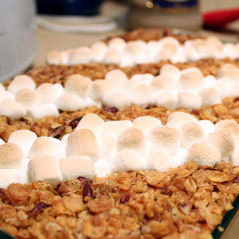 Sweet Potato Casserole with Corn Flake, Pecan & Marshmallow Topping