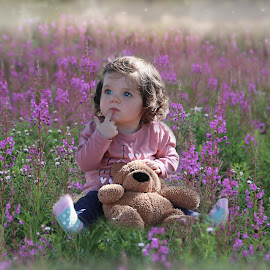 The Little Flower by Una Williams Photos - Babies & Children Child Portraits ( child, teddy bear, family, childhood, flowers )