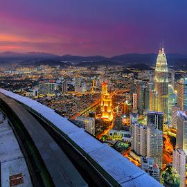 Kuala Lumpur skycraper by Jose Hamra - City,  Street & Park  Skylines ( klcc, skyline, sunset, sunrise, kl, city, kltower )