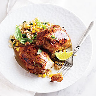 Asian Marinated Chicken with Corn and Basil Faux-Fried Rice