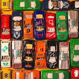 Cars and More Cars by Judy Laliberte - Novices Only Objects & Still Life ( lots of cars, cars, reflection and light, multicolored )