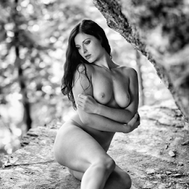 by Reto Heiz - Nudes & Boudoir Artistic Nude ( nude, black and white, outdoor, stone, female nude )