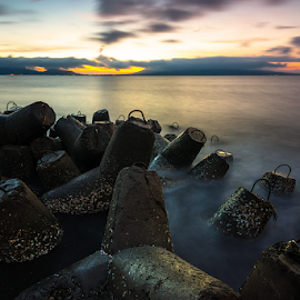Waves Breaker by Ade Noverzan - Landscapes Waterscapes ( twilight, beach, sunrise, morning, concrete )