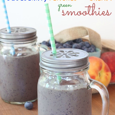 Blueberry, Peaches and Cream Green Smoothies