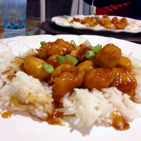 Tangy Orange Chicken over Jasmine Rice