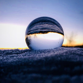Reflections. by Melissa Poling - Artistic Objects Glass ( abstract, lensball, winter, now, sundown, rooftop )