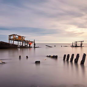 Wrecked by SyaFiq Sha'Rani - Landscapes Waterscapes ( destroy, shipwreck, wreck, ship, sunset, coludy )