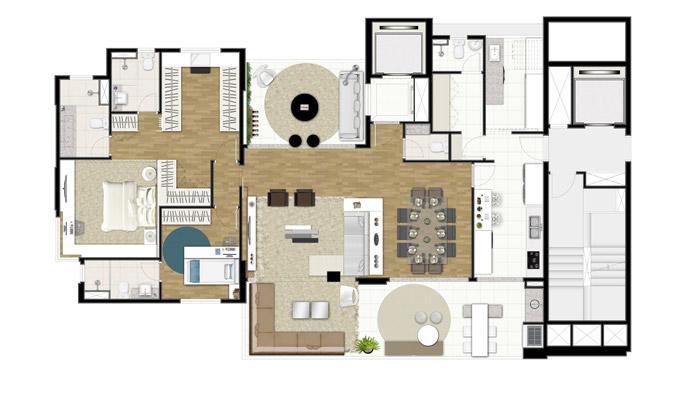 Planta Opção - 171 m² - 2 Suítes