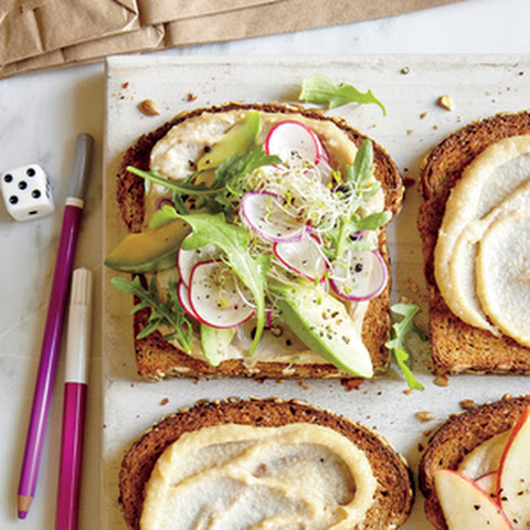 Avocado, Sprout, and Cashew Spread Sandwich
