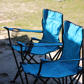 Blue folding chairs by Terry Linton - Artistic Objects Furniture ( macro, chairs, blue, still life, artistic image,  )