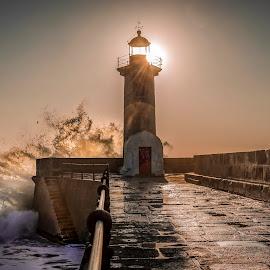 Wave sunset by Nedelciu Alexandru - Landscapes Sunsets & Sunrises ( sunset, lighthouse, wave, sea, atlantic )