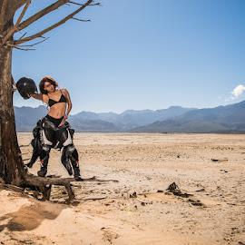 Damn leathers by Jason Elphick - People Fashion ( mad max, bike leathers, dry, no water, biker, dam, arid, landscape )