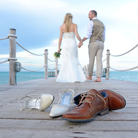 Shoes by Andrew Morgan - Wedding Bride & Groom ( love, shoes, zanzibar, wedding, jetty )