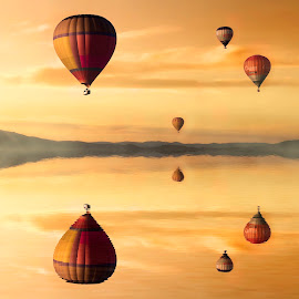 Ride in Peace by Dominic Wade - Digital Art Things ( water, pixabay, adobe photoshop, reflections, balloons, hot air balloons )