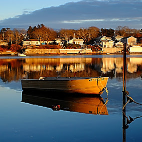 Winter sunset by MarySue Price - Transportation Boats ( water, sand, winter, row boat, sunset, boats, bouy, beach, boat )