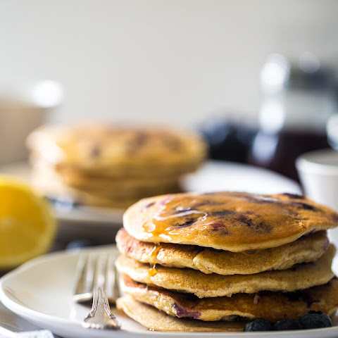 Blueberry Gluten Free Pancakes with Quinoa and Lemon