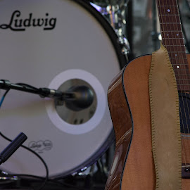 Drum and Guitar by Thomas Shaw - Artistic Objects Musical Instruments ( music, strap, microphone, silver, acoustic, drum, strings, brown, guitar, raleigh, instruments, north carolina, oc7 )