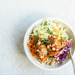 Meatballs on Brown Rice with Peanut Sauce and Asian Slaw