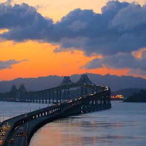 California Sunrise by Robin Rawlings Wechsler - Landscapes Sunsets & Sunrises ( water, weather, architecture, bridge, seascape, sunrise, landscape, sun )