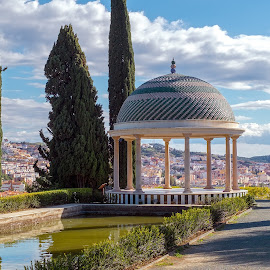 Conception garden by Roberto Sorin - Landscapes Travel ( conception, plant, ornate, travel, architecture, botanical, panorama, spain, mirror, tranquil, sky, tree, nature, andalusia, idyllic, andalucia, mirador, pine, building, spanish, peaceful, park, flora, green, beautiful, lake, traditional, tourism, relaxation, panoramic view, sign, tourist, malaga, european, blue, outdoor, viewpoint, view, tranquility, histórico, garden, natural, jardín botánico, cactus )