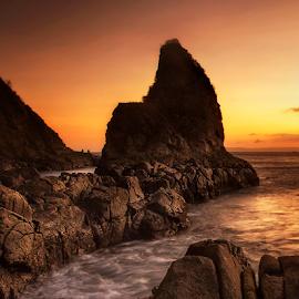 two fishermen by Ivan Lee - Landscapes Sunsets & Sunrises ( canon, sunset, fish, beach, landscape, fisherman, rocks )