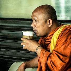 Tea for The Monk by Dody Mawardi - People Portraits of Men ( budha, budhism, monk, waiting room, people, portrait, man, Buddhism )