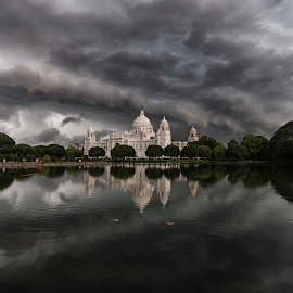 Storm above her by Anshuman Bhattacharjee - Landscapes Cloud Formations ( clouds, monsoon, kolkata, victoria, storm, landscape, heritage )