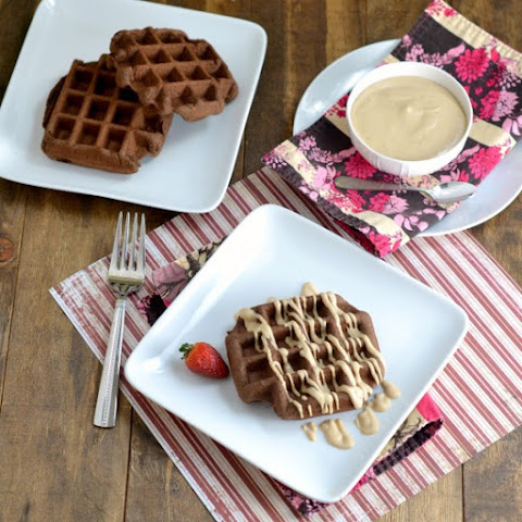 Chocolate Brownie Waffles with Peanut Butter Frosting