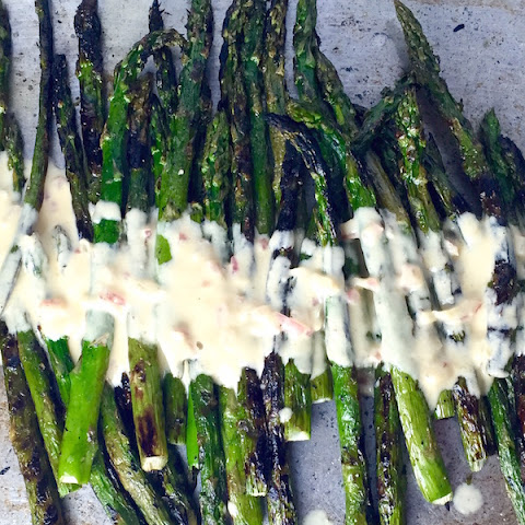 Grilled Asparagus with Mustard Cream